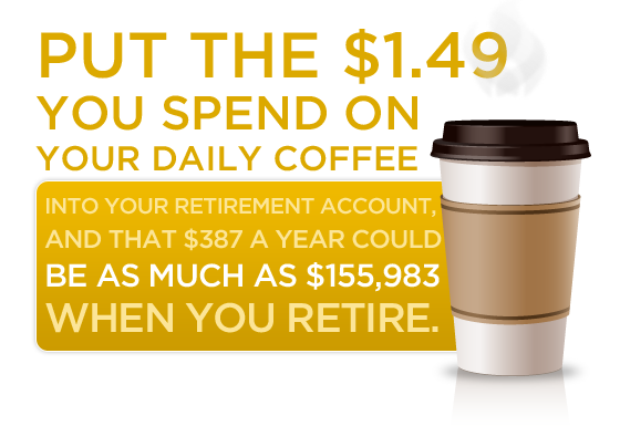 Put the $1.49 you spend on your daily coffee into your retirement account, and that $387 a year could be as much as $155,983 when you retire.