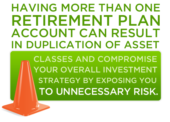 Having more than one retirement plan account can result in duplication of asset classes and compromise your overall investment strategy by exposing you to unnecessary risk.