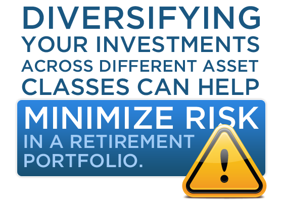 Diversifying your investments across different asset classes can help minimize risk in a retirement portfolio.