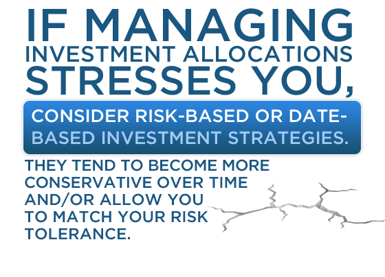 If managing investment allocations stresses you, consider risk-based or date-based investment strategies. They tend to become more conservative over time and/or allow you to match your risk tolerance.