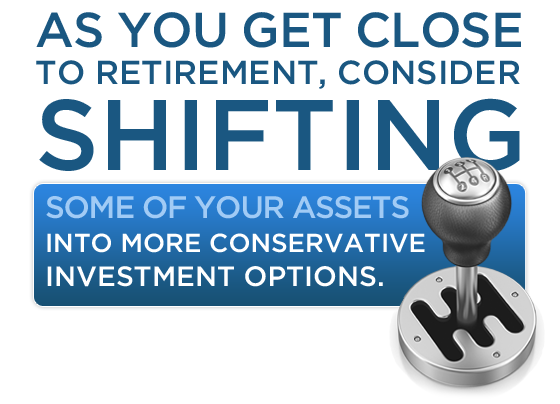 As you get close to retirement, consider shifting some of your assets into more conservative investment options.